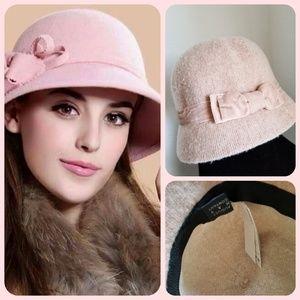 NWT pink wool blend August Hat cloche hat